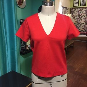Tops - Red v neck short sleeve ponti fabric tee