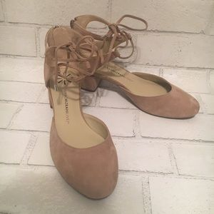 Cream colored kitten heels suede like size 7