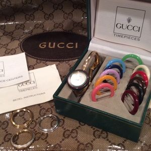 "100% AUTHENTIC ""GUCCI"" WATCH/BEZEL SET/NEW BATTERY"