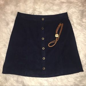 Hollister A-Line Suede Button-Up Skirt