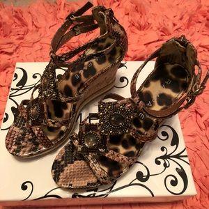 New in box Rampage wedge leopard & jewel sandals