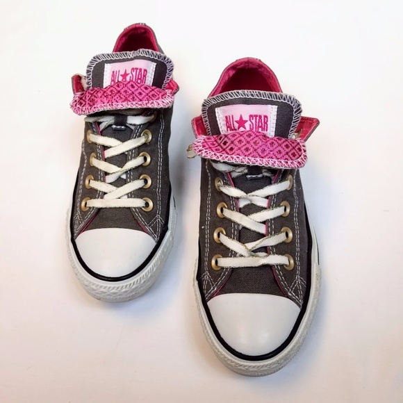 3a89d3116b0a88 Converse Shoes - Converse Double Tongue Low Top Shoe in Grey   Pink