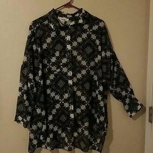 Vintage button down paisley pattern blouse