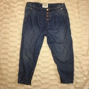 One Denim Urban outfitters cropped zip jeans