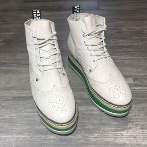 Vintage Leather Spectator Creeper Lace Up Shoes