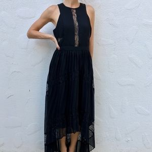 Adelyn Rae Irina Pleated Lace Insert Maxi Dress