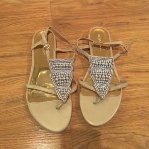 BCBG gold and silver sandals