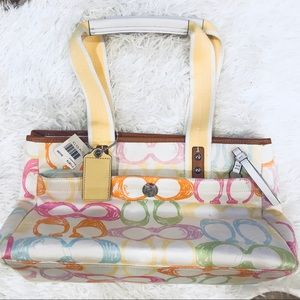 NWT Coach Hampton Scribble Pastel Tote Bag