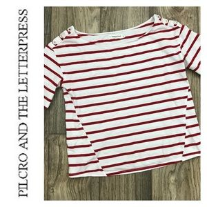 ANTHRO PILCRO Crop Red Stripe Tee Sz Small
