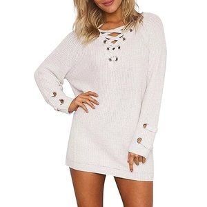 Sweaters - Off White Leisure Lace Up Knit Sweater Dress