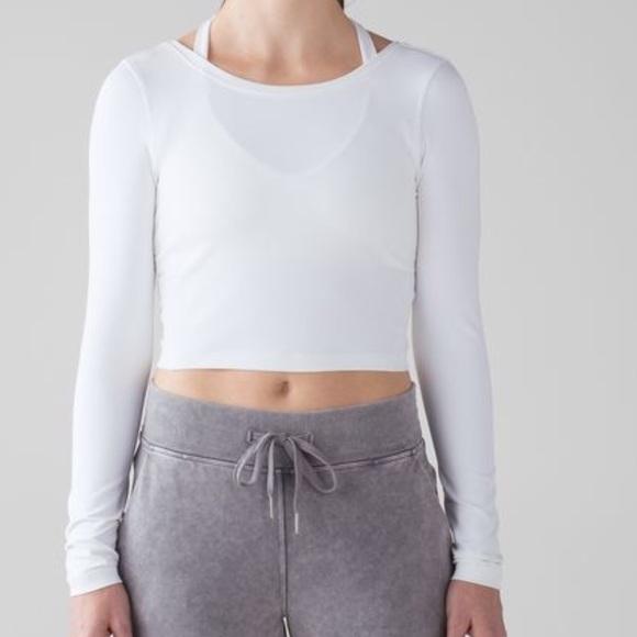 2b619c7eae8d0d lululemon athletica Tops - Lululemon Arise Long Sleeve Crop Top White 6