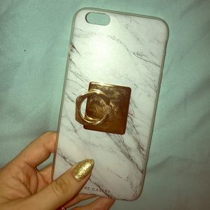 Accessories - White Marble iPhone 6 Plus Case w/ Gold Socket