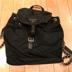Prada nylon black chain backpack