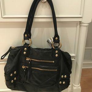 Black leather Linea Pelle hobo bag, Gold hardware