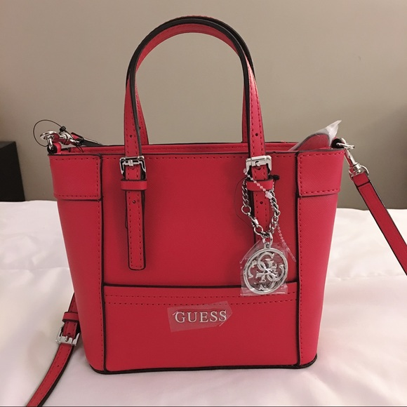 GUESS red delaney mini tote crossbody NWT