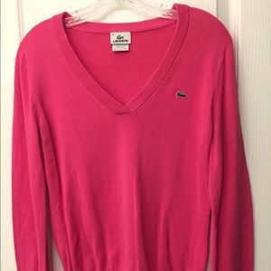 V-neck Lacoste pink Sweater