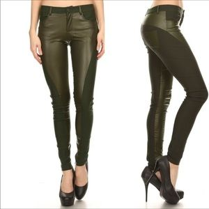 Pants - Spliced (mix fabric)green pants