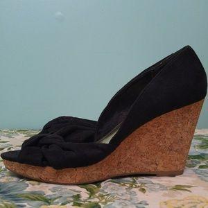H&M Black Faux Suede Open Toe Cork Wedges Sandals