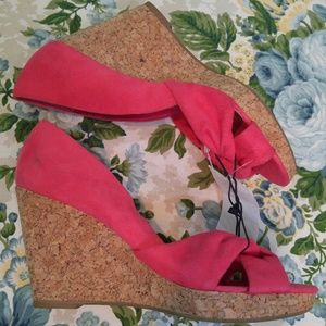 H&M Coral Pink Faux Suede Open Toe Cork Wedges 9