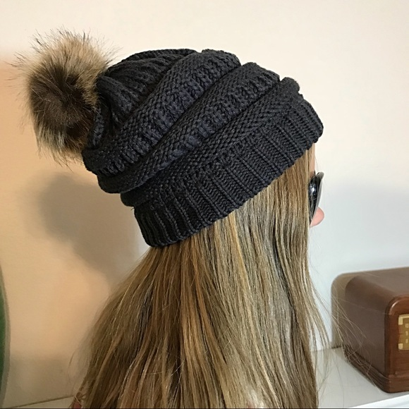 8abfc8011ec Slouchy Charcoal Knit Beanie Faux Fur Pom Pom. Boutique. Pretty Kitty
