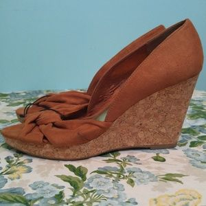 H&M Brown Faux Suede OpenToe Cork Wedges Sandals 9
