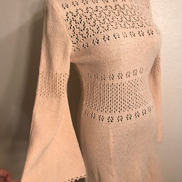 Vintage Dresses - Gorgeous vintage peach knit dress