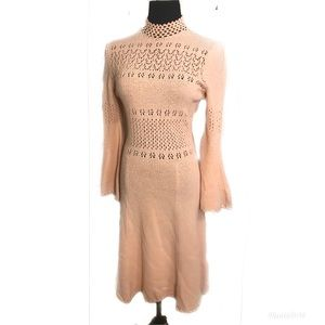 Gorgeous vintage peach knit dress