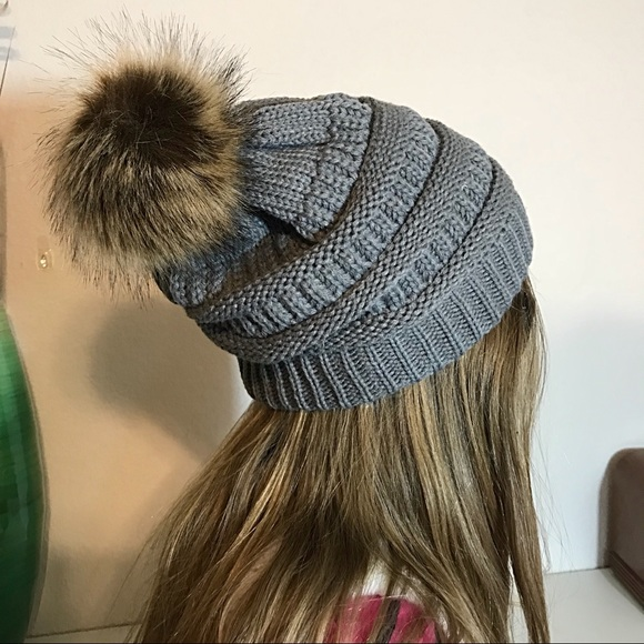 9658d855d51 Slouchy Gray Knit Beanie Faux Fur Pom Pom Lined. Boutique. Pretty Kitty