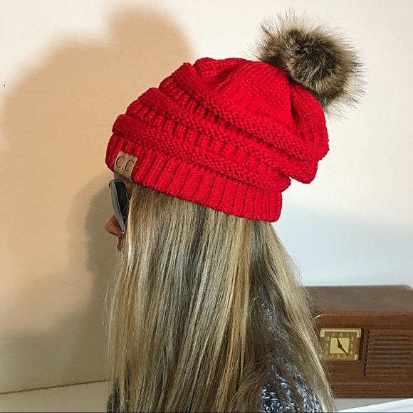 C.C. Accessories - Slouchy Red Knit Beanie Faux Fur Pom Pom Fur Lined