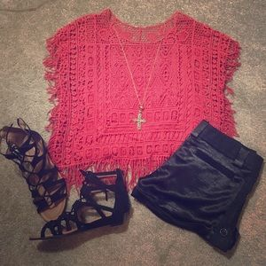 Tops - SOLD Red Lace Fringe Top