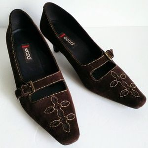 ECCO Kitten heel Leather Suede Shoes