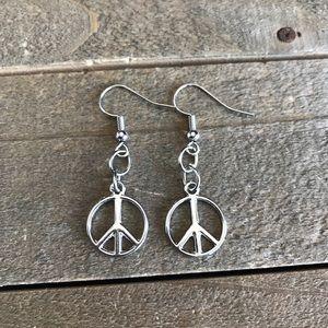 3 for $25 Handmade Silver Peace Sign Earrings