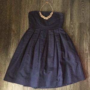 J. Crew Navy Blue Strapless Dress