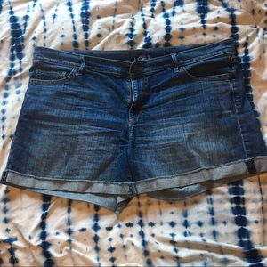 Ann Taylor LOFT jean shorts rolled medium wash