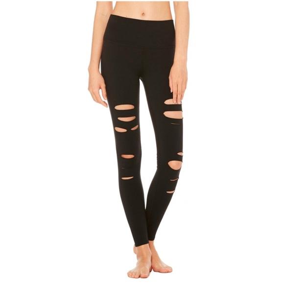 c68ee5ebc46ef9 ALO Yoga Pants | Nwt 125 Alo Highwaist Ripped Warrior Legging M ...