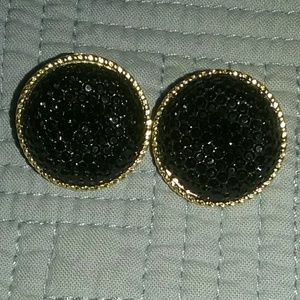 Jewelry - Black Druzy/Gold sparkle studs