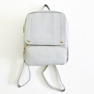 Handbags - Mini Vegan Leather Grey Backpack