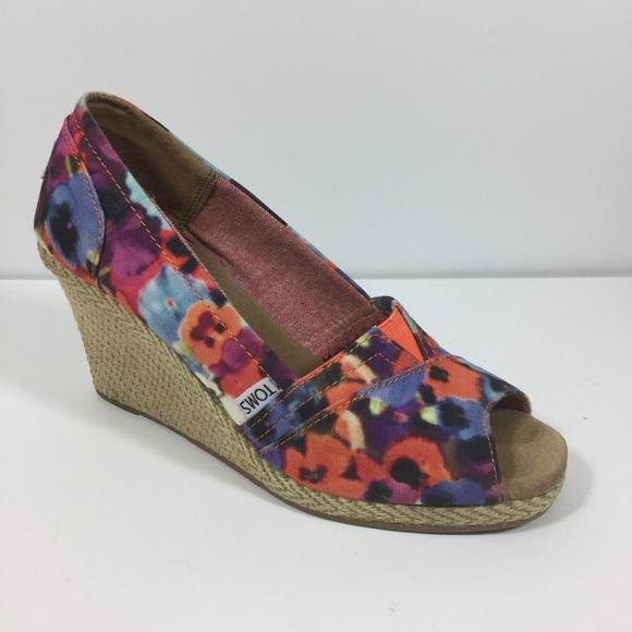 Toms Calypso Floral Peep Toe Wedge 8