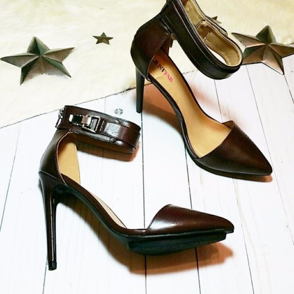 0fe366a35ec JustFab Faye heels ankle strap wrap dark red brick
