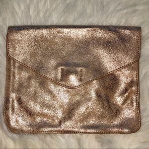 Rose Gold Metallic Leather Envelope Clutch