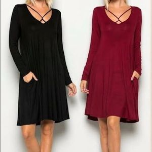 Dresses & Skirts - RED WINE • Criss cross long sleeve Tunic Dress