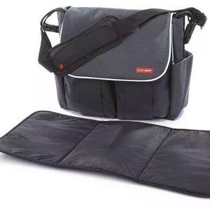 skip hop diaper bag charcoal w/ changing pad