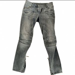 Balmain - Distressed Biker slim-leg grey jeans