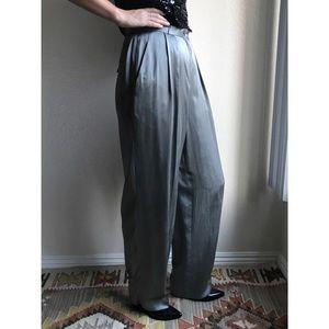Vintage✨100% silk high waist silver trousers