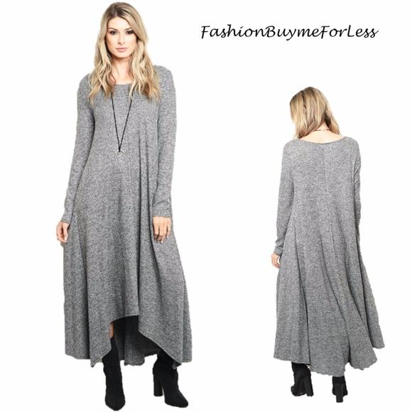 9831afcca2f BOHO Gypsy Sharkbite Knit Tall Maxi Sweater Dress