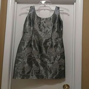 Papell Boutique Metallic Gray Evening Dress Size 8