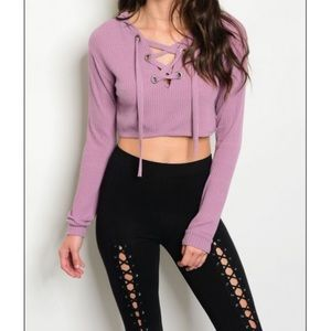 Lavender Lace Up Crop Top
