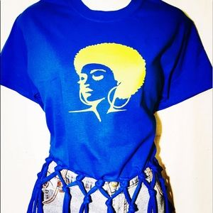 Tops - Afrocentric Afro Lady Fringed Tee
