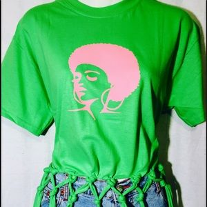 Tops - Afro Lady Afrocentric Fringed Tee