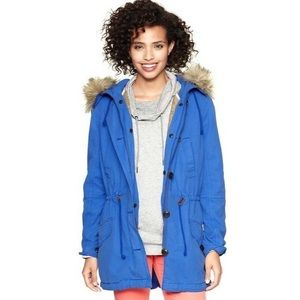 GAP Twill Parka with Fur Hood and Fleece Liner